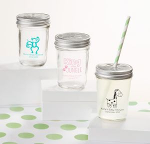 Fisher-Price Jungle Personalized Baby Shower Mason Jars with Daisy Drink Lids (Printed Glass)