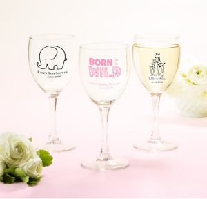 Pink Safari Personalized Baby Shower Wine Glasses (Printed Glass)