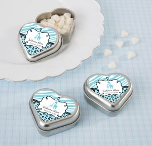 Blue Safari Personalized Baby Shower Heart-Shaped Mint Tins with Candy (Printed Label)