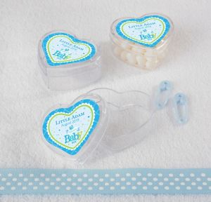 Personalized Heart Shaped Clear Plastic Favor Boxes