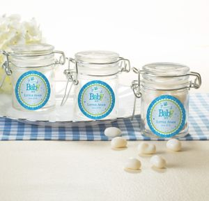 Welcome Baby Boy Personalized Baby Shower Small Glass Jars (Printed Label)