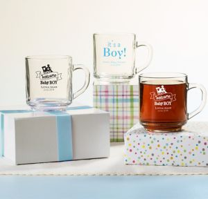 Welcome Baby Boy Personalized Baby Shower Glass Coffee Mugs (Printed Glass)