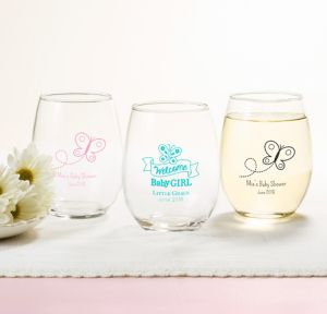 Welcome Baby Girl Personalized Baby Shower Stemless Wine Glasses 15oz (Printed Glass)