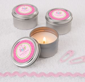Welcome Baby Girl Personalized Baby Shower Candle Tins (Printed Label)