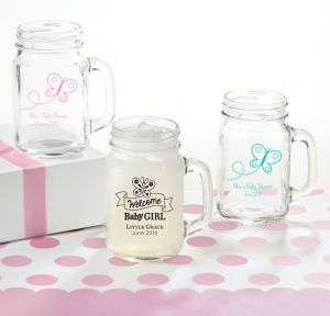 Welcome Baby Girl Personalized Baby Shower Mason Jar Mugs (Printed Glass)