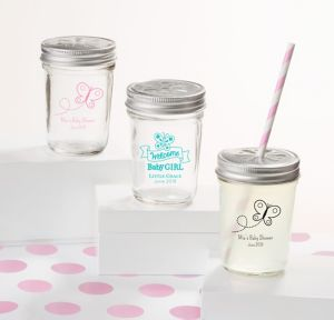 Welcome Baby Girl Personalized Baby Shower Mason Jars with Daisy Drink Lids (Printed Glass)