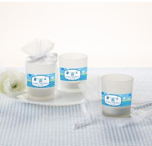 It's a Boy Personalized Baby Shower Glass Votive Candle Holders (Printed Label)