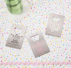 It's a Girl Personalized Baby Shower Credit Card Bottle Openers - Silver (Printed Metal)