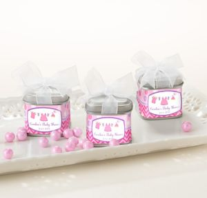 It's a Girl Personalized Baby Shower Favor Tins with Bows (Printed Label)