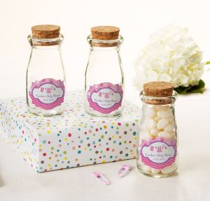 It's a Girl Personalized Baby Shower Glass Milk Bottles with Corks (Printed Label)