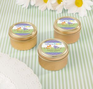 Woodland Personalized Baby Shower Round Candy Tins - Gold (Printed Label)
