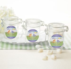 Woodland Personalized Baby Shower Small Glass Jars (Printed Label)