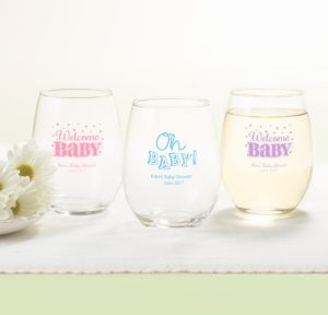 Bright Chevron Personalized Baby Shower Stemless Wine Glasses 15oz (Printed Glass)