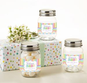 Bright Chevron Personalized Baby Shower Mini Glass Mason Jars (Printed Label)