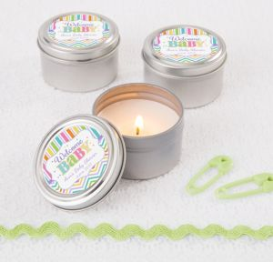 Bright Chevron Personalized Baby Shower Candle Tins (Printed Label)