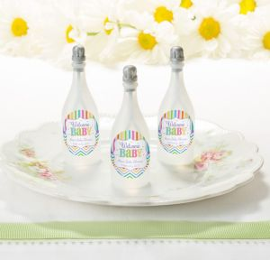 Bright Chevron Personalized Baby Shower Bubbles (Printed Label)