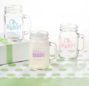 Bright Chevron Personalized Baby Shower Mason Jar Mugs (Printed Glass)