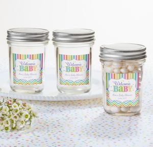 Bright Chevron Personalized Baby Shower Mason Jar with Solid Lid (Printed Label)