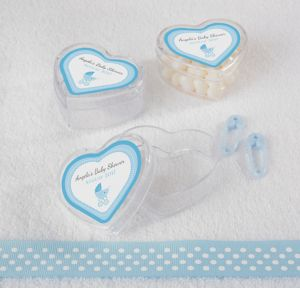 Blue Stroller Personalized Baby Shower Heart-Shaped Plastic Favor Boxes (Printed Label)