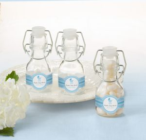 Blue Stroller Personalized Baby Shower Glass Swing Top Bottles (Printed Label)