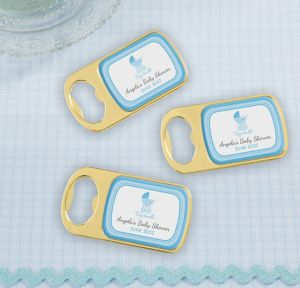 Blue Stroller Personalized Baby Shower Bottle Openers - Gold (Printed Epoxy Label)