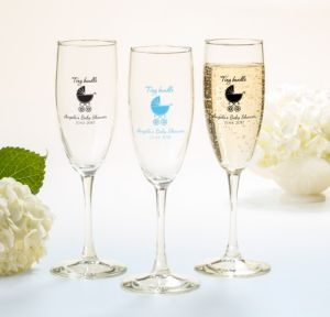 Blue Stroller Personalized Baby Shower Champagne Flutes (Printed Glass)