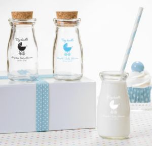 Blue Stroller Personalized Baby Shower Glass Milk Bottles (Printed Glass)