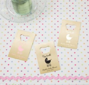 Pink Stroller Personalized Baby Shower Credit Card Bottle Openers - Gold (Printed Metal)