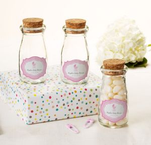 Pink Stroller Personalized Baby Shower Glass Milk Bottles with Corks (Printed Label)