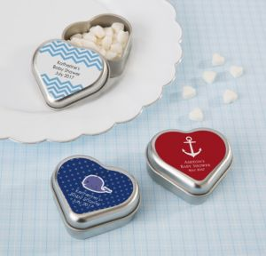Ahoy Nautical Personalized Baby Shower Heart-Shaped Mint Tins with Candy (Printed Label)