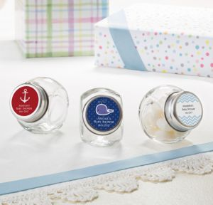 Ahoy Nautical Personalized Baby Shower Glass Candy Jars (Printed Label)
