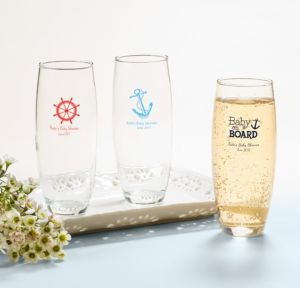 Ahoy Nautical Personalized Baby Shower Stemless Champagne Flutes (Printed Glass)