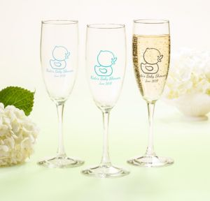 Bubble Bath Personalized Baby Shower Champagne Flutes (Printed Glass)
