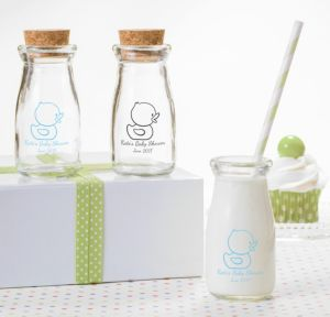 Bubble Bath Personalized Baby Shower Glass Milk Bottles (Printed Glass)