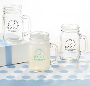 Little Peanut Boy Personalized Baby Shower Mason Jar Mugs (Printed Glass)