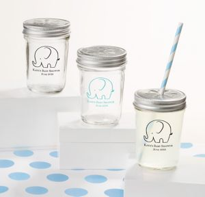 Little Peanut Boy Personalized Baby Shower Mason Jars with Daisy Drink Lids (Printed Glass)