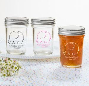 Little Peanut Girl Personalized Baby Shower Mason Jars (Printed Glass)