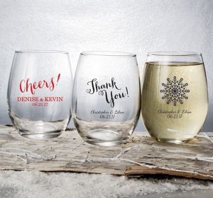 Personalized Stemless Wine Glasses 15oz <br>(Printed Glass)