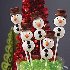 Donut Hole Snowman Pops