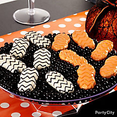 Modern Halloween Candy Dipped Chevron Cookies