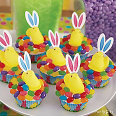 Peeps Jelly Beans and Ears Cupcakes