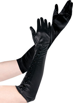 Long Satin Gloves with Snaps