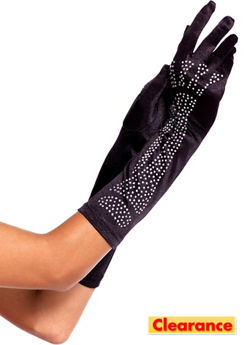 Adult Long Rhinestone Skeleton Gloves