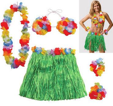Adult Large Hula Skirt Kit 5pc