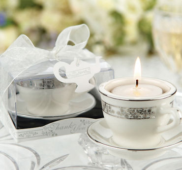Silver Mini Teacup Tealight Candle Holder