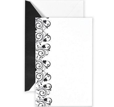 Black & White Ornate Printable Wedding Invitations Kit 50ct
