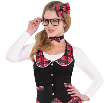 Adult Geek Chic Vest and Hair Bow Kit