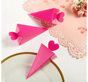 Bright Pink Cone Favor Boxes