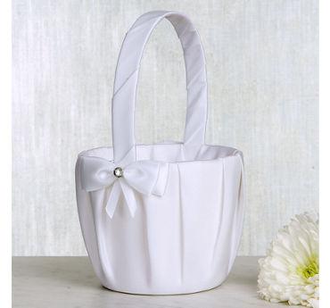 White Bow Flower Girl Basket