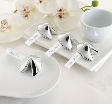 Silver Fortune Cookie Place Card Holders